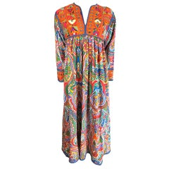 MOSCHINO COUTURE! 1994 ethnic embroidered paisley kaftan dress