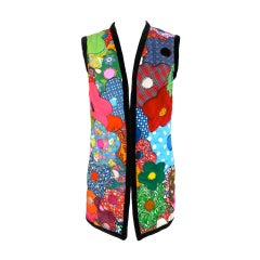 Vintage 1970's flower power quilted patchwork vest