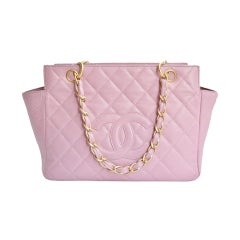 CHANEL PARIS Lilac quilted leather and gold chain tote purse