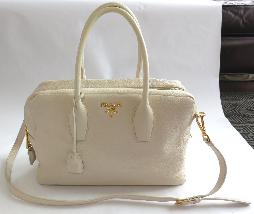 PRADA MILANO Ecru grained leather top handle bag at 1stdibs