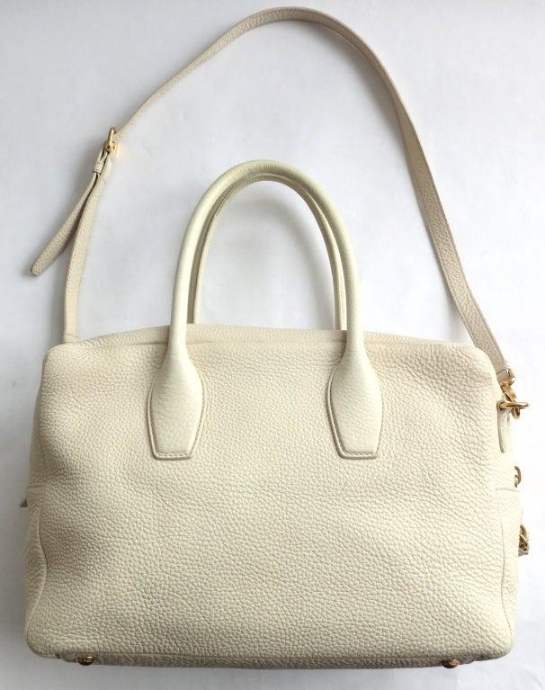 PRADA MILANO Ecru grained leather top handle bag at 1stdibs
