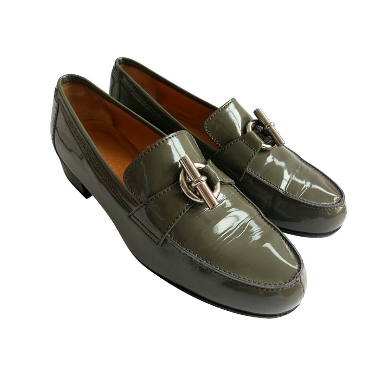Hermes Paris Green Patent Leather Ring And Bar Loafers At
