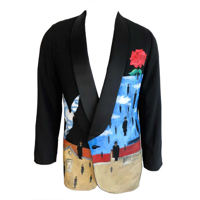 Homage To Ren 233 Magritte Hand Painted Men S Tuxedo Jacket