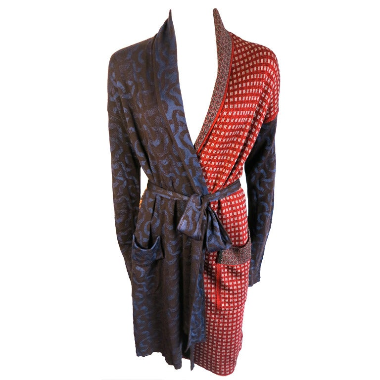 jean paul gaultier paris multi pattern sweater knit robe coat at 1stdibs. Black Bedroom Furniture Sets. Home Design Ideas