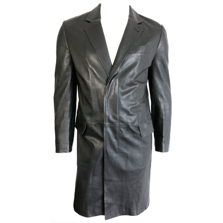 Helmut Lang Men S 1990 S Black Italian Leather Coat At 1stdibs