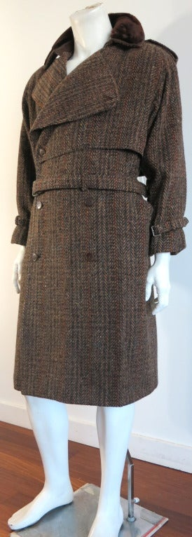 Vintage G Gucci 1970 Men S Wool Tweed Leather Fur Collar