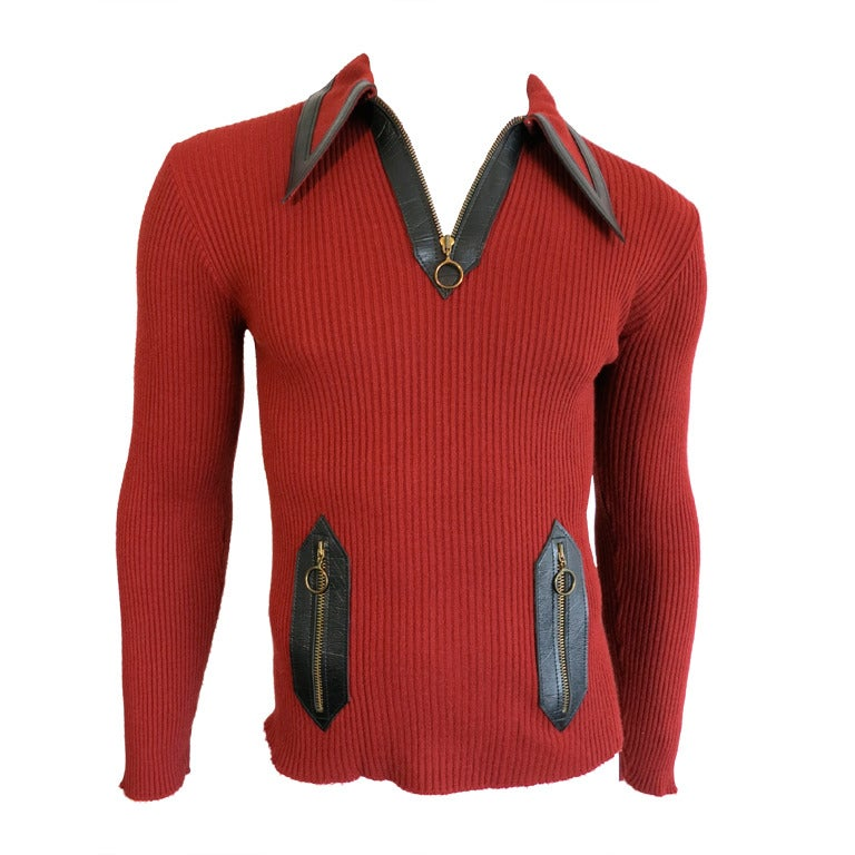Vintage G. GUCCI ITALY 1970 Men's red wool zip neck sweater at 1stdibs