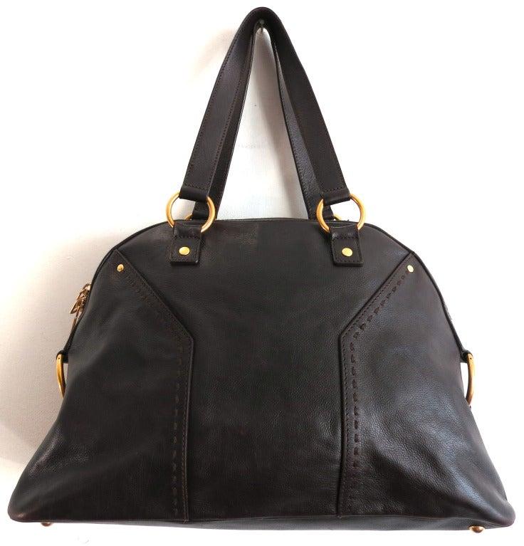 YSL YVES SAINT LAURENT Dark brown leather muse handbag purse at ...