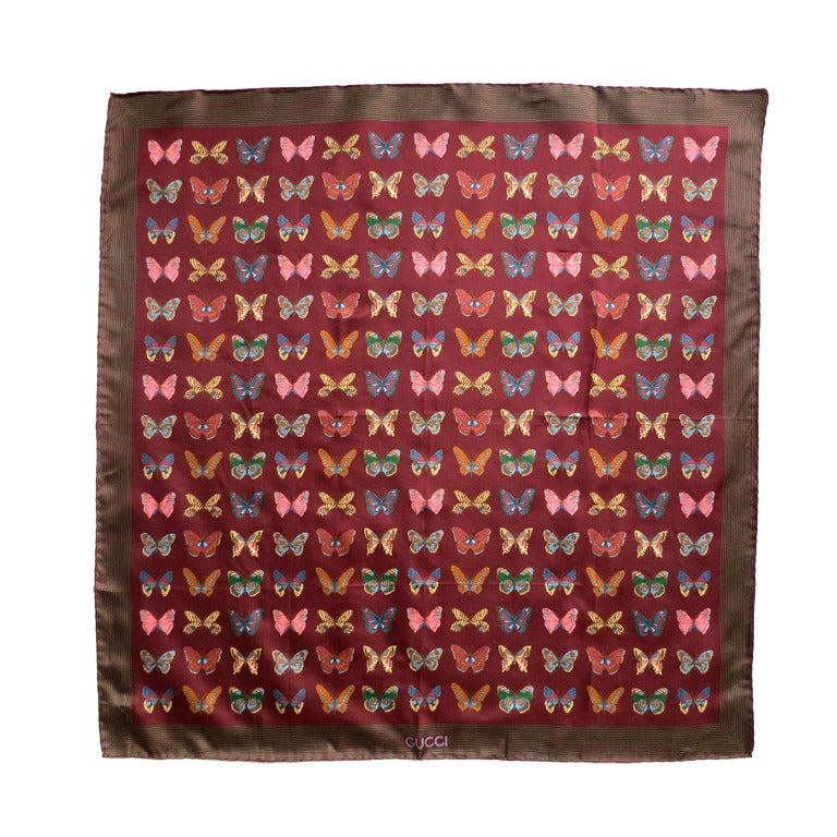 Vintage Gucci Italy 100 Silk Butterfly Printed Scarf And