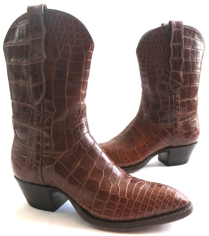 LOVELESS Women's African crocodile skin boots at 1stdibs