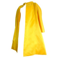 Vintage ARNOLD SCAASI Imperial yellow silk taffeta evening coat