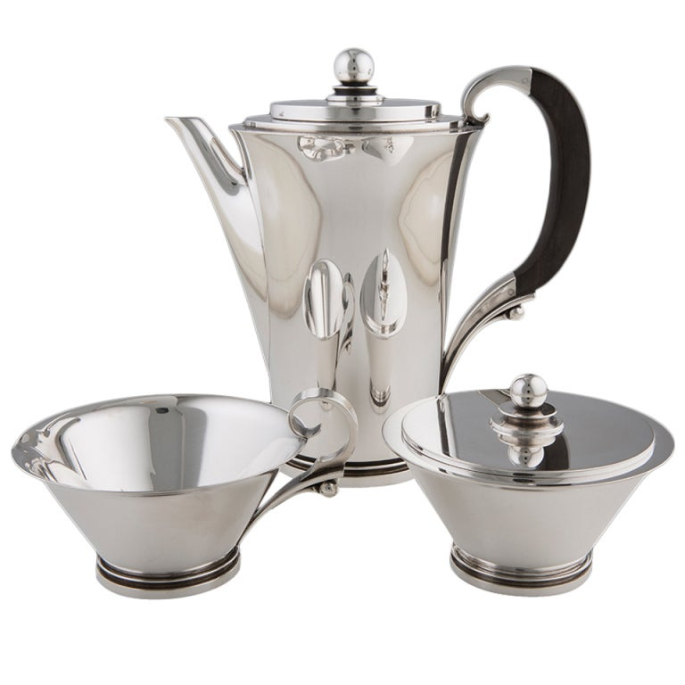 Harald Nielsen for Georg Jensen sterling service Pyramid coffee service, 1930