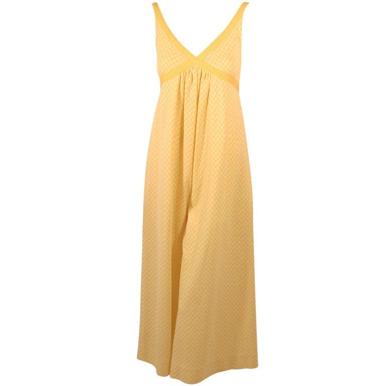 Rudi Gernreich Vintage Yellow & White Check Sleeveless Pantsuit