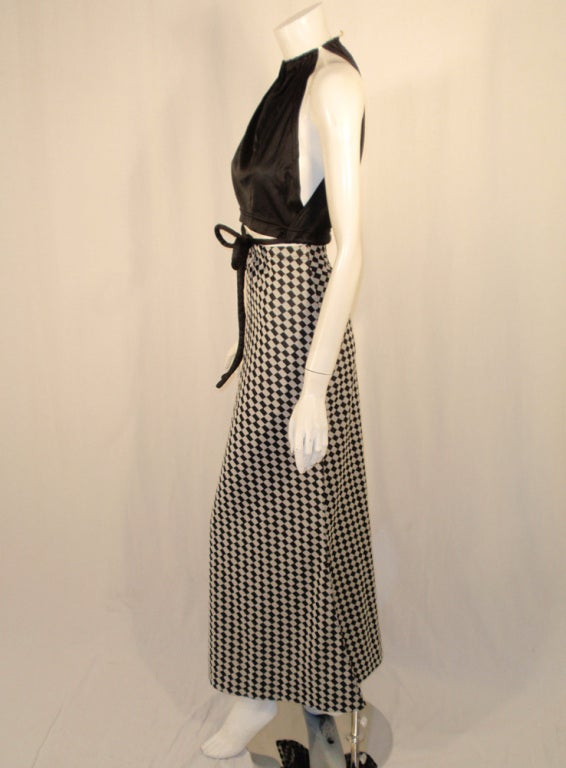 Rudi Gernreich 2 pc. Black & White Maxi Skirt & Black Halter Top 3