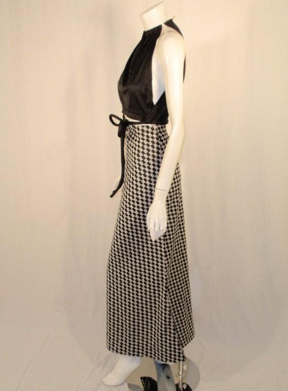 Rudi Gernreich 2 pc. Black & White Maxi Skirt & Black Halter Top In Excellent Condition For Sale In Los Angeles, CA