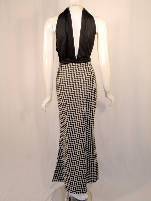 Women's Rudi Gernreich 2 pc. Black & White Maxi Skirt & Black Halter Top For Sale