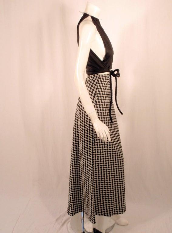 Rudi Gernreich 2 pc. Black & White Maxi Skirt & Black Halter Top 5