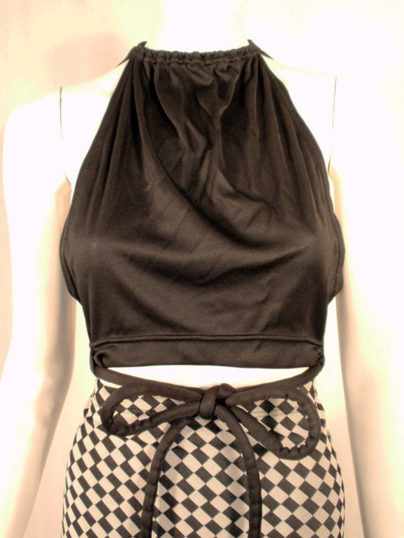 Rudi Gernreich 2 pc. Black & White Maxi Skirt & Black Halter Top 6