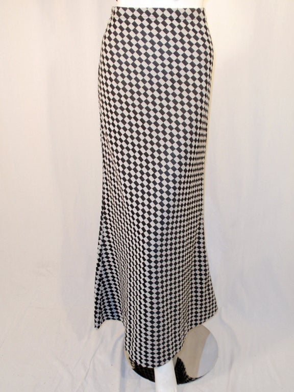 Rudi Gernreich 2 pc. Black & White Maxi Skirt & Black Halter Top For Sale 4