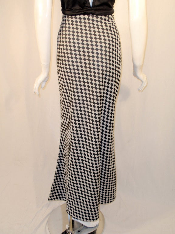 Rudi Gernreich 2 pc. Black & White Maxi Skirt & Black Halter Top 9