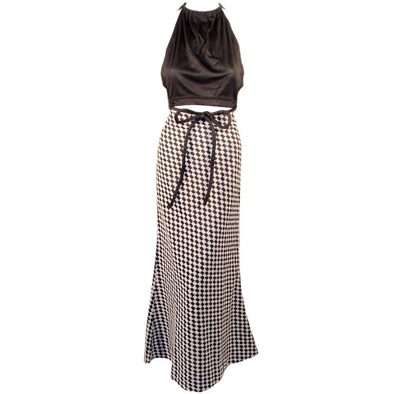 Rudi Gernreich 2 pc. Black & White Maxi Skirt & Black Halter Top 1