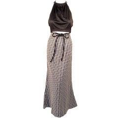 Rudi Gernreich 2 pc. Black & White Maxi Skirt & Black Halter Top
