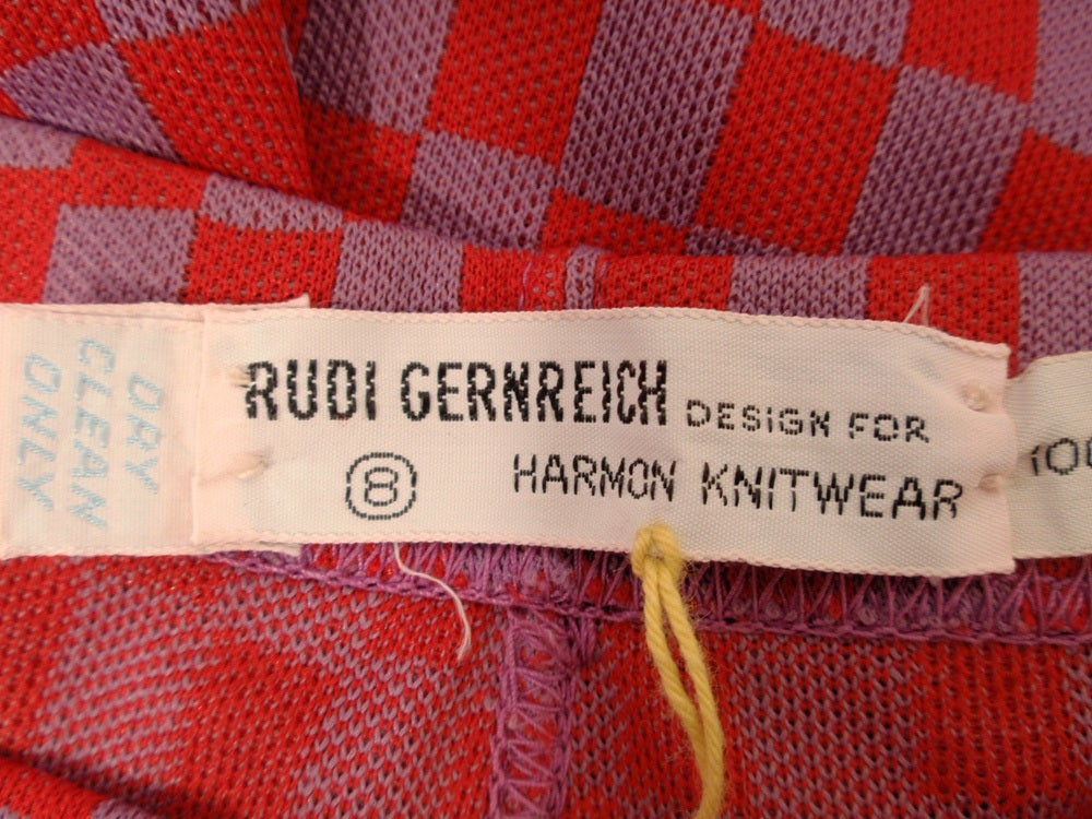 Rudi Gernreich Red & Purple Check Knit High Waist Pants, Size 8 In Excellent Condition For Sale In Los Angeles, CA