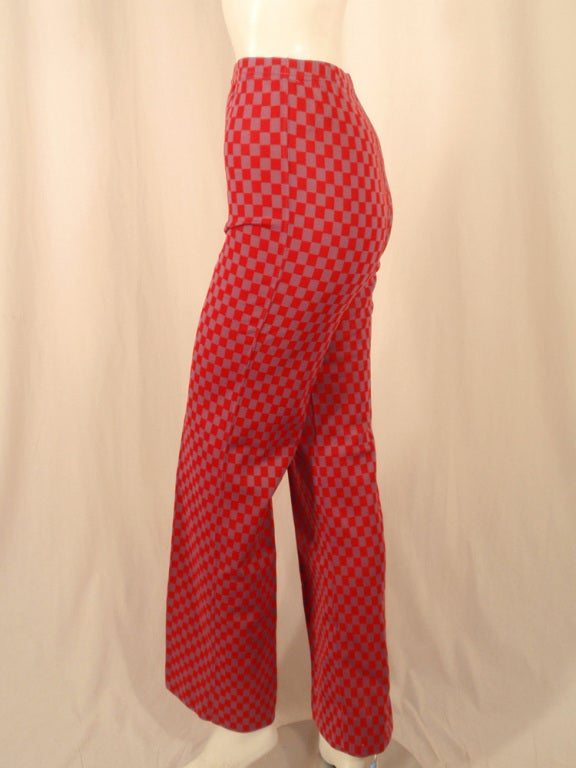 Women's Rudi Gernreich Red & Purple Check Knit High Waist Pants, Size 8 For Sale