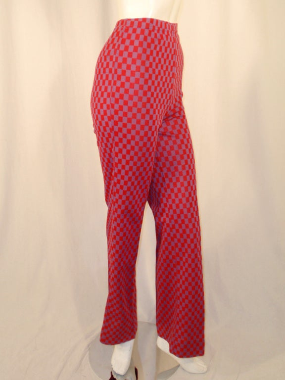 Rudi Gernreich Red & Purple Check Knit High Waist Pants, Size 8 For Sale 2