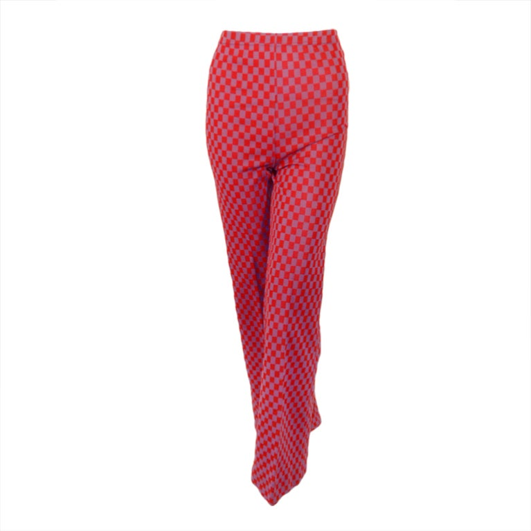 Rudi Gernreich Red & Purple Check Knit High Waist Pants, Size 8 For Sale