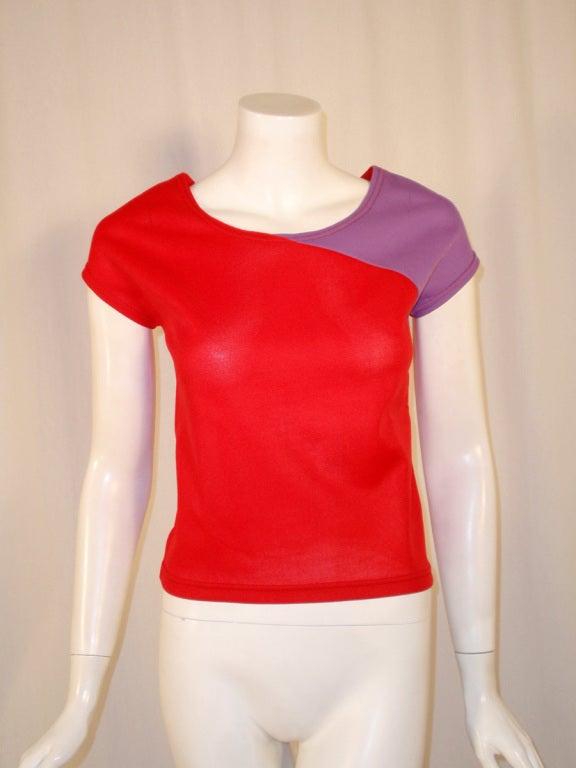 Rudi Gernreich Vintage Red & Purple Short Sleeve Knit Top 2