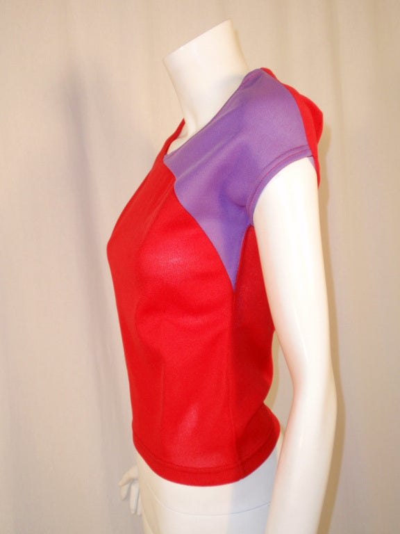 Rudi Gernreich Vintage Red & Purple Short Sleeve Knit Top 4