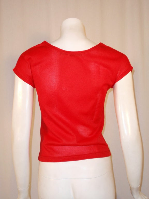 Rudi Gernreich Vintage Red & Purple Short Sleeve Knit Top 5