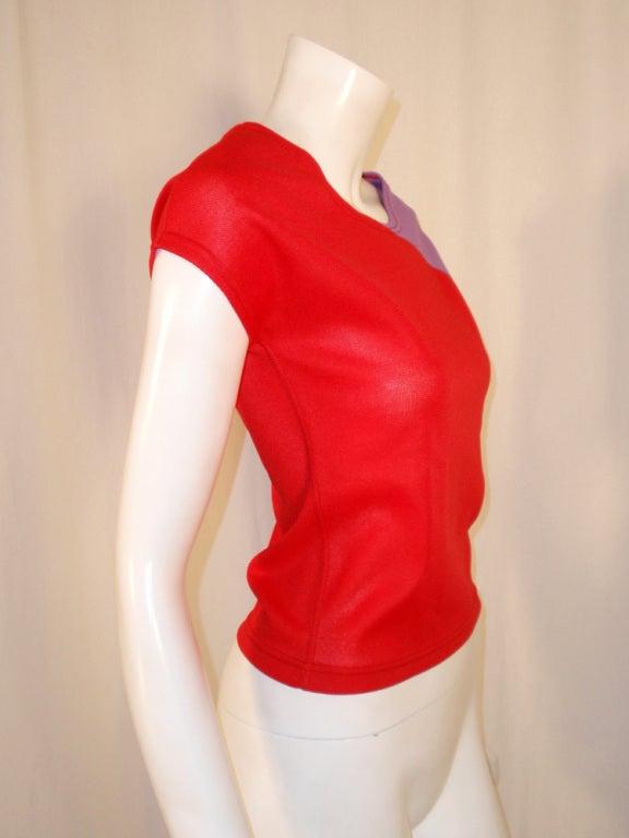 Rudi Gernreich Vintage Red & Purple Short Sleeve Knit Top 6