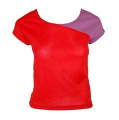 Rudi Gernreich Vintage Red & Purple Short Sleeve Knit Top