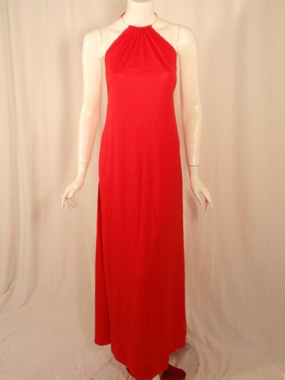 Rudi Gernreich Red Knit Halter Dress w/ Metal Neck Ring, Size 8 2