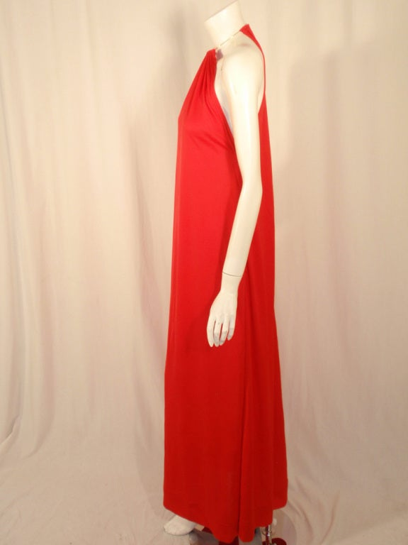 Rudi Gernreich Red Knit Halter Dress w/ Metal Neck Ring, Size 8 4