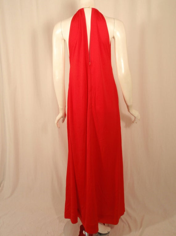 Rudi Gernreich Red Knit Halter Dress w/ Metal Neck Ring, Size 8 5