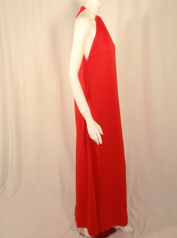Rudi Gernreich Red Knit Halter Dress w/ Metal Neck Ring, Size 8 6