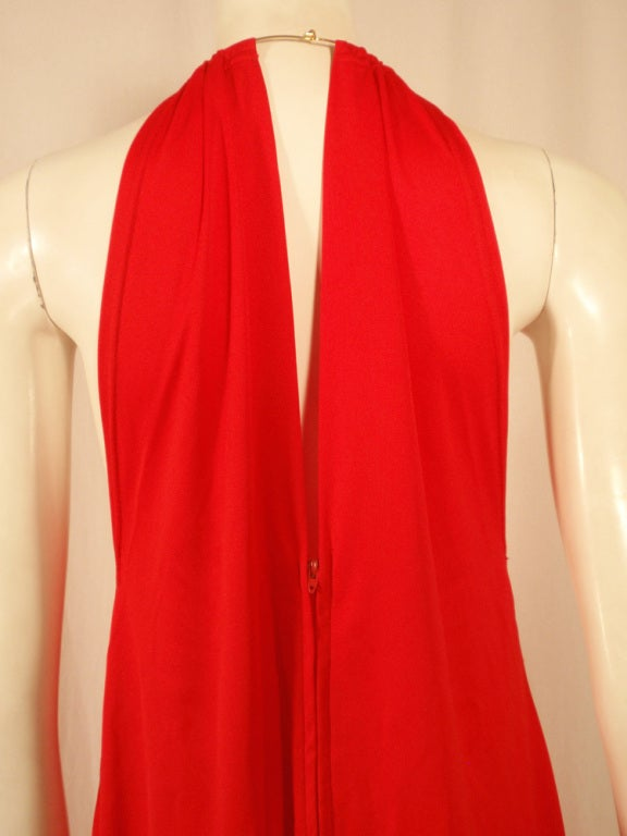 Rudi Gernreich Red Knit Halter Dress w/ Metal Neck Ring, Size 8 8