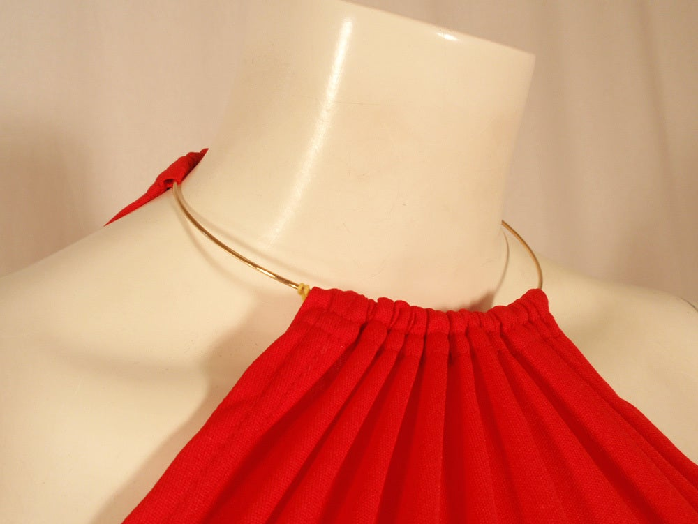 Rudi Gernreich Red Knit Halter Dress w/ Metal Neck Ring, Size 8 9