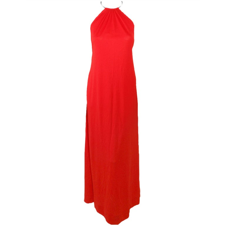 Rudi Gernreich Red Knit Halter Dress w/ Metal Neck Ring, Size 8 1