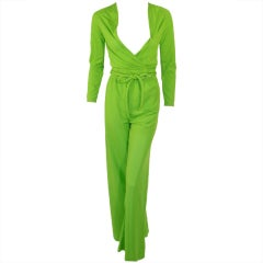 Rudi Gernreich 2 pc Green Jersey Knit Wrap Top & Wide Leg Pant