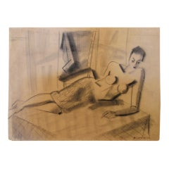 Rudi Gernreich Original Charcoal Sketch 18 x 23 3/4 Museum Mounted