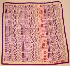 Rudi gernreich Pink, Purple, White Geo Print Silk Scarf