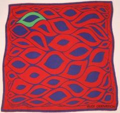Rudi Gernreich Red, Blue, Green Abstract Print Silk Scarf