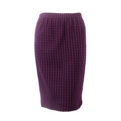 Rudi Gernreich Purple/Black Check Wool Knit Straight Skirt