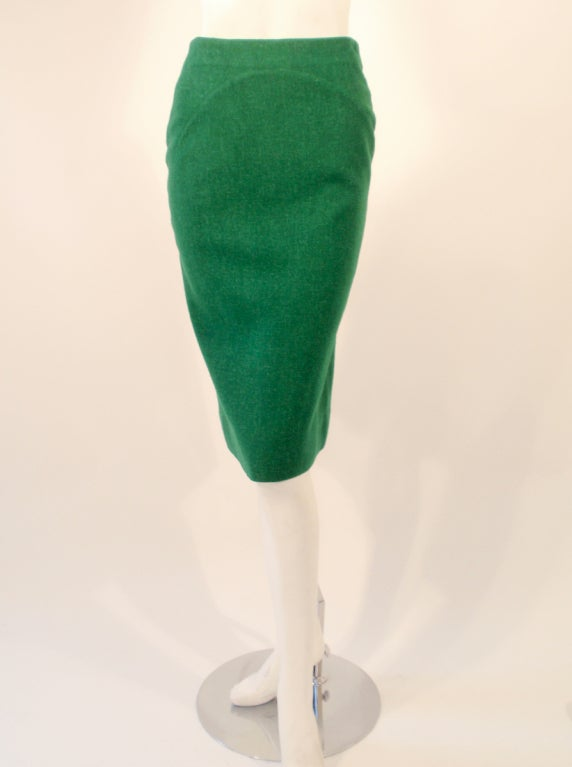 Attributed to Rudi Gernreich Green Wool pencil Skirt with Kick Pleat 2