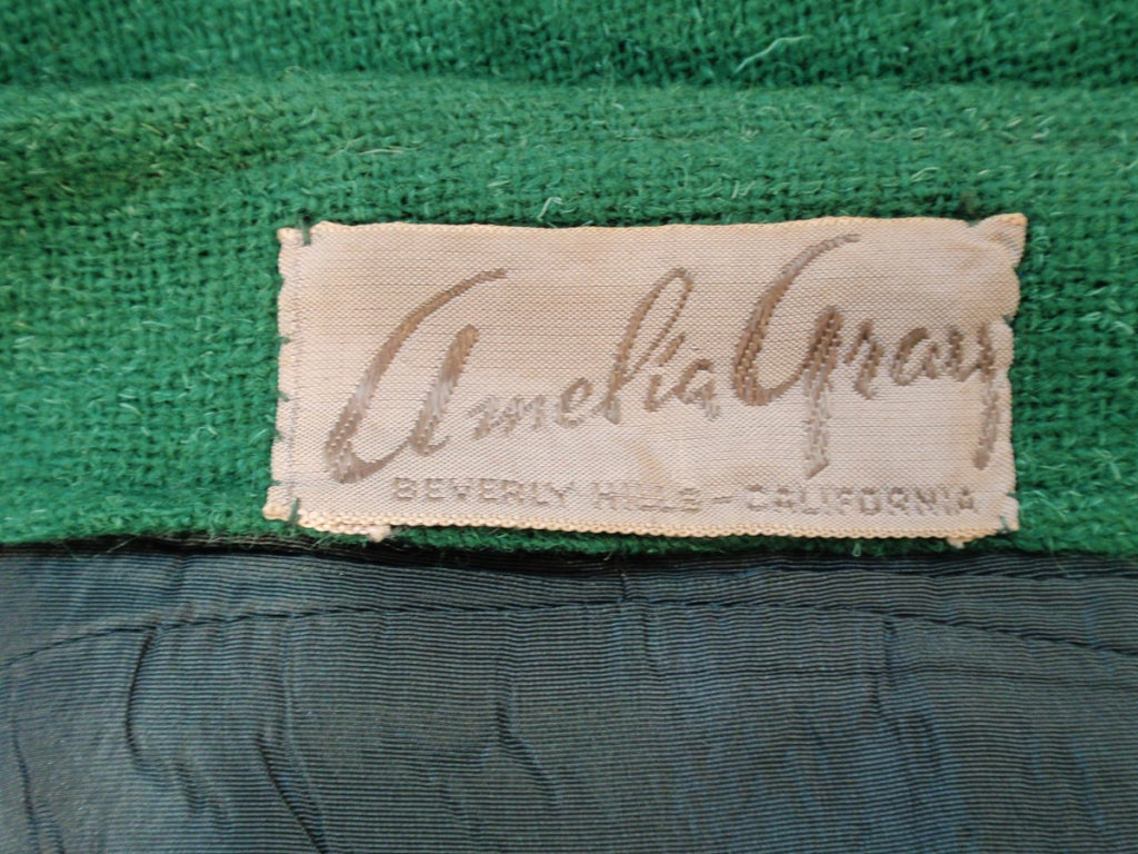 Attributed to Rudi Gernreich Green Wool pencil Skirt with Kick Pleat 3