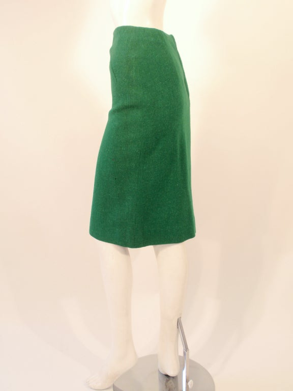Attributed to Rudi Gernreich Green Wool pencil Skirt with Kick Pleat 5